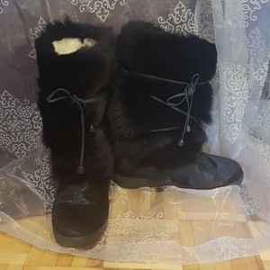 Pajar fur boots black made in Italy womens